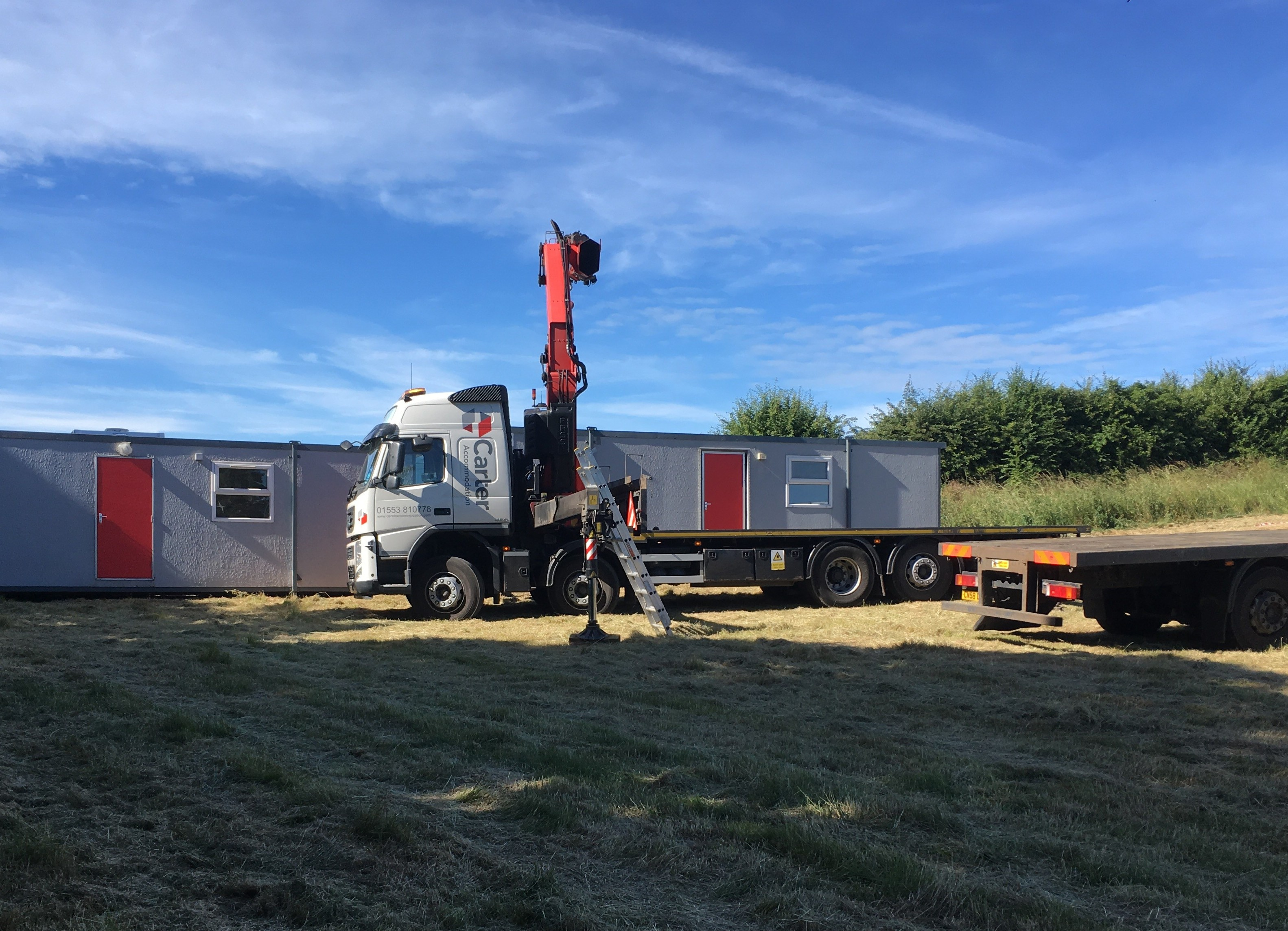 Monday: the finds and teaching hut portacabins arrive on site