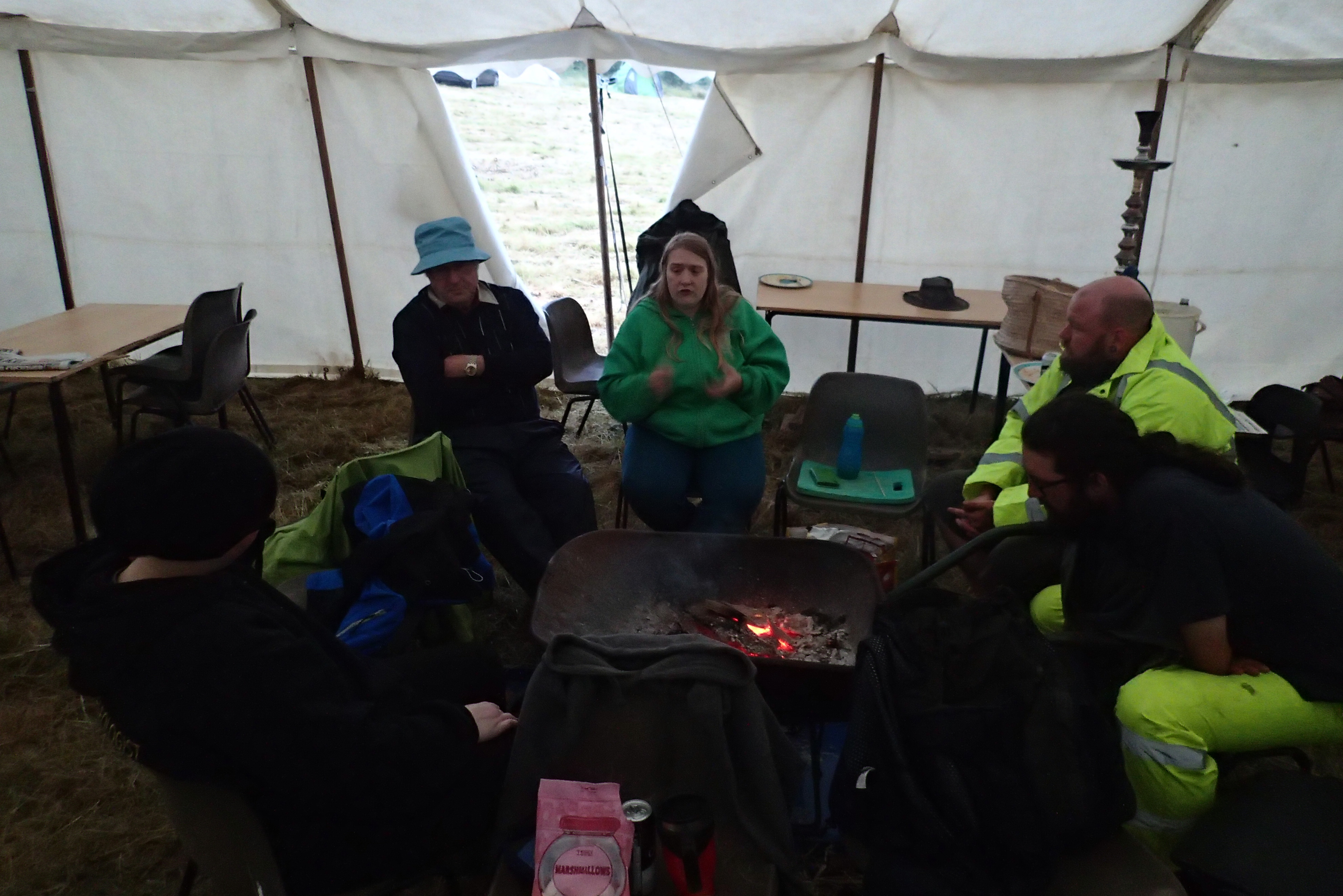 Wednesday: keeping warm with fireside chat and marshmallows